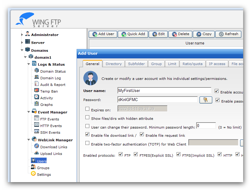 Wing FTP Server Help