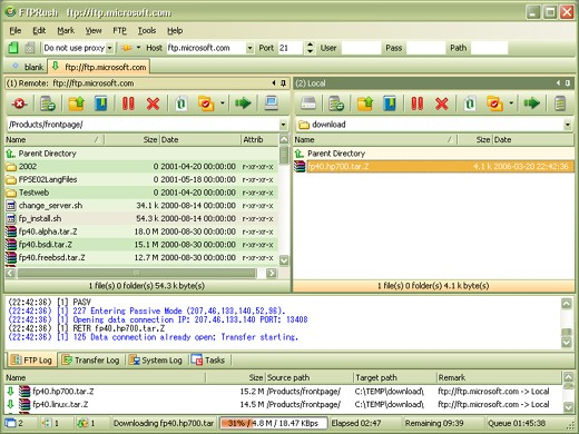 tabbed interface of FTPRush