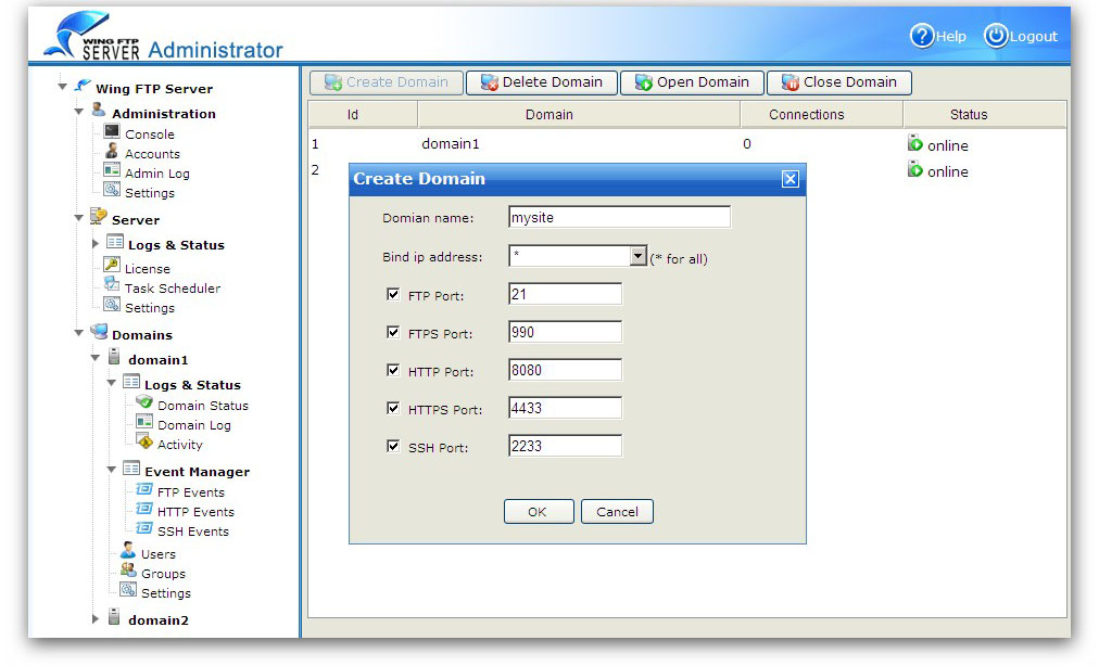 Click to view Wing FTP Server 4.3.5 screenshot